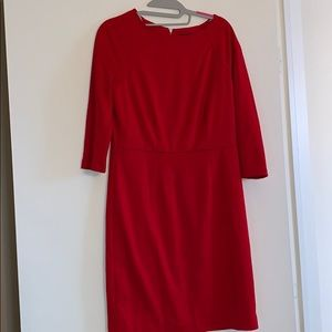 Red lined stretch sheath dress
